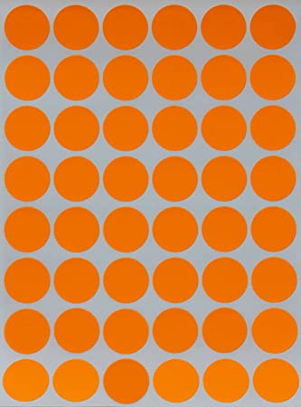 Round colored dot stickers in neon orange 3 4 color coding label
