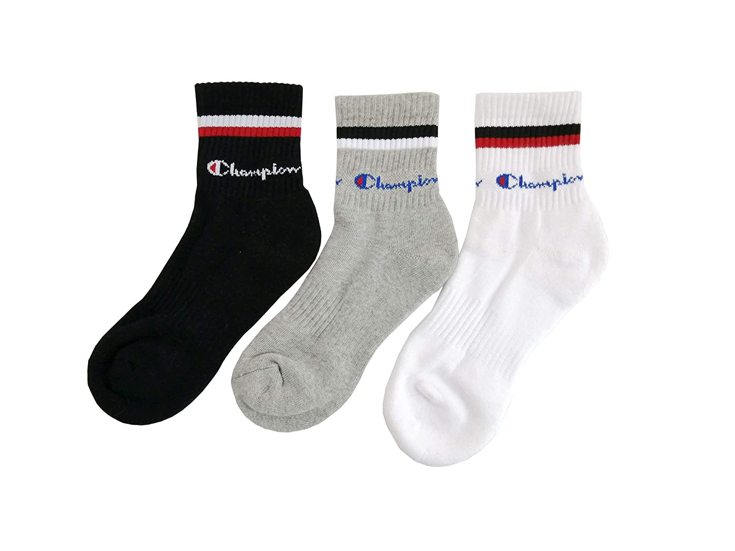 free shipping outlet on sale on feet images of Champion Men's 3-Pack Double Dry Performance Quarter Socks Crew Low Cut Sock