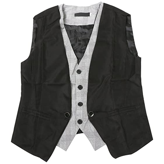 TRIXES Mens Black Waist Coat 2 Piece Design Fashion Vest Waistcoat ...