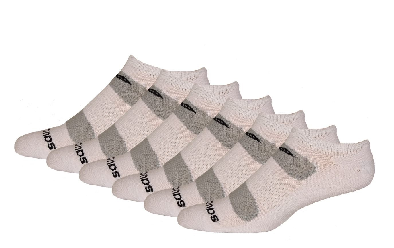 Saucony Men's 6 Pack Performance Comfort Fit No-Show, White, Sock Size: 9.5-11.5
