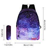 Violet Mist Galaxy Canvas Backpack Casual Bag