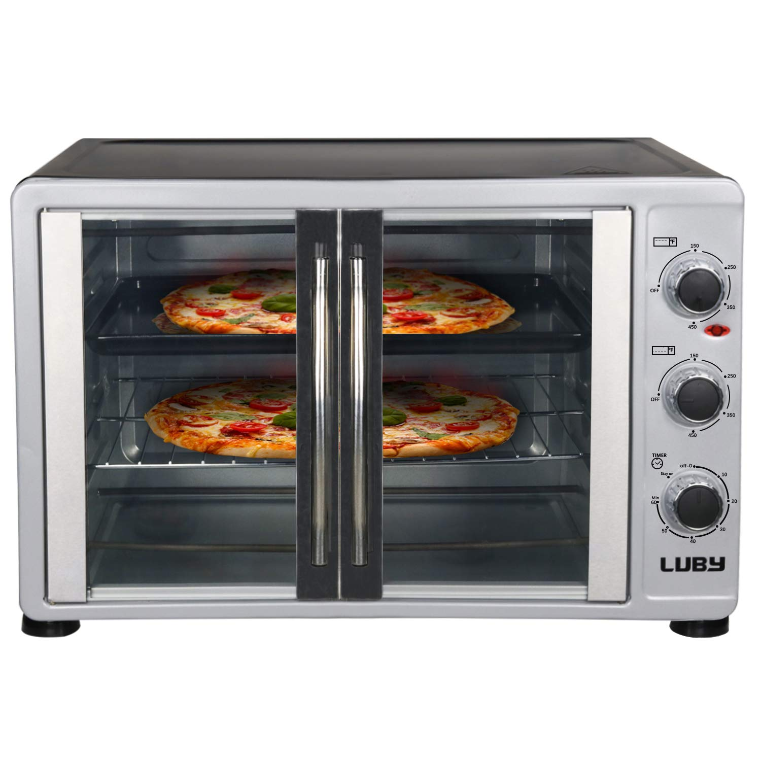 Luby Extra Large 55L toaster oven, 16 Slices,14'' pizza,20lb Turkey, White,Stainless Steel