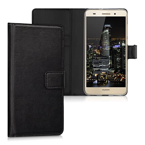 on sale 49c87 a9b7c kwmobile Wallet Case for Huawei Y6 II - Protective PU Leather Flip Cover  with Magnetic Closure, Card Slots and Kickstand