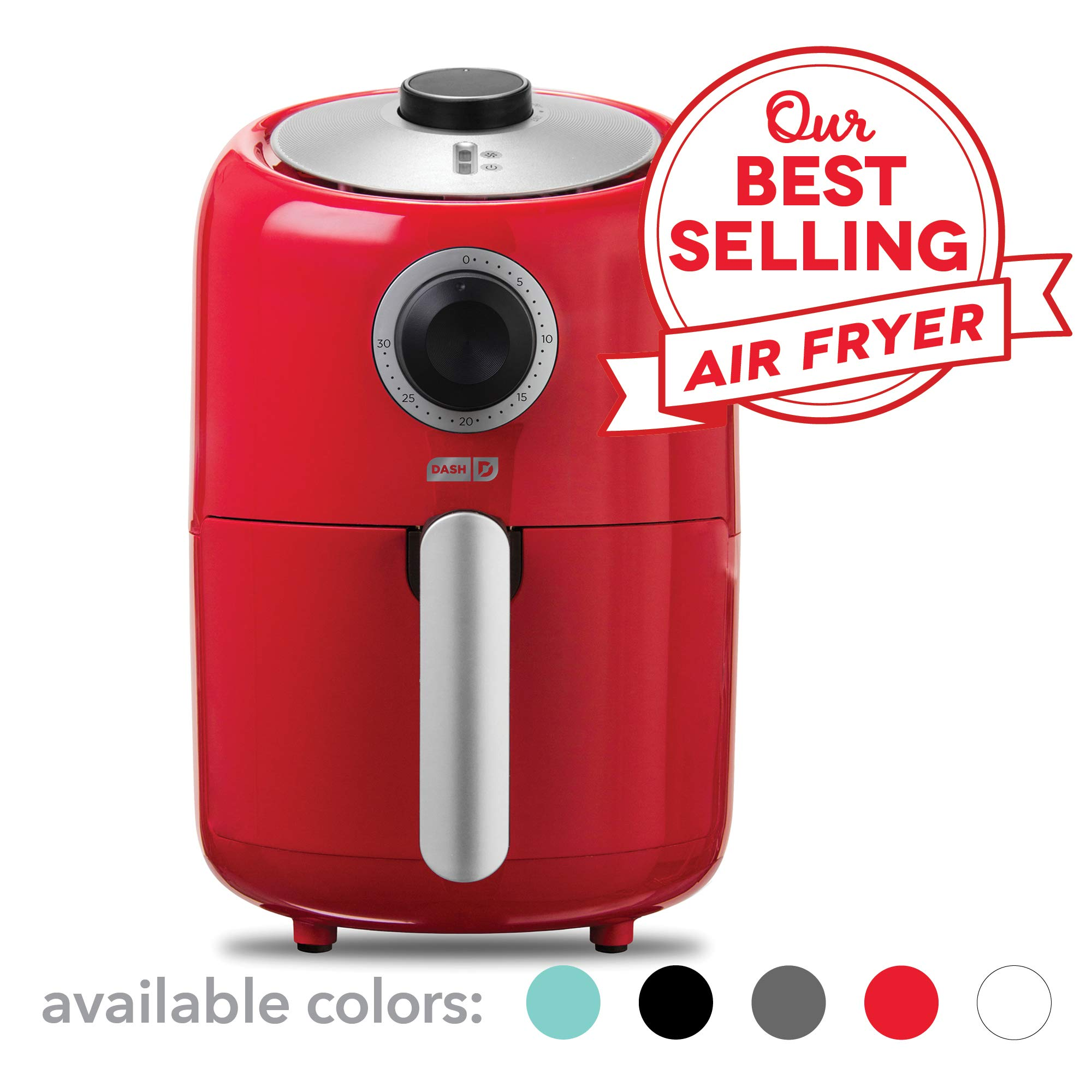 Dash Compact Air Fryer 1.2 L Electric Air Fryer Oven Cooker with Temperature Control, Non Stick Fry Basket, Recipe Guide + Auto Shut off Feature - Red by Dash (Image #1)