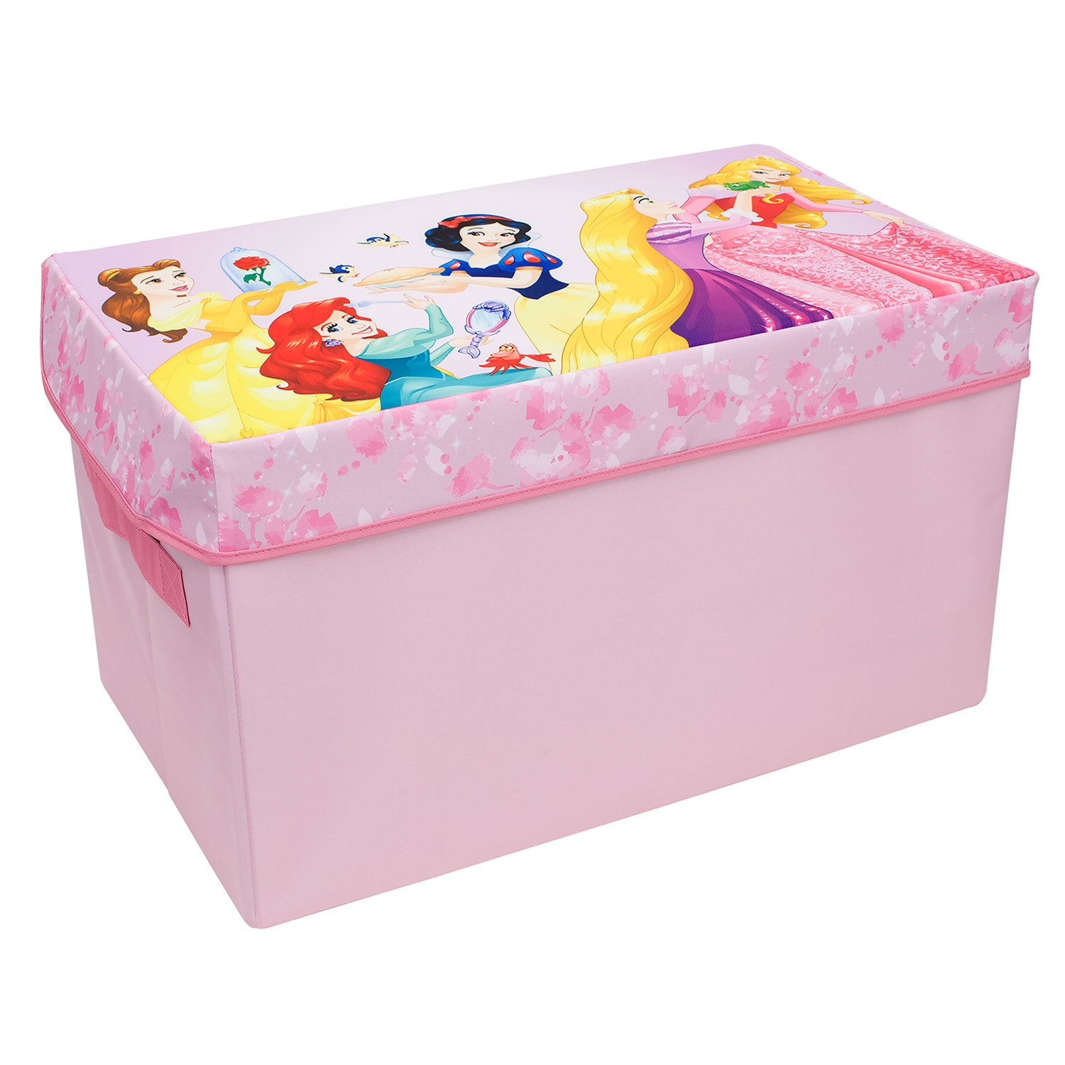 Forever Princess Collapsible KidsToy Storage Chest by Disney - Flip-Top Toy Organizer Bin for Closets, Kids Bedroom, Boys & Girls Toys - Foldable Toy Basket Organizer with Strong Handles & Design