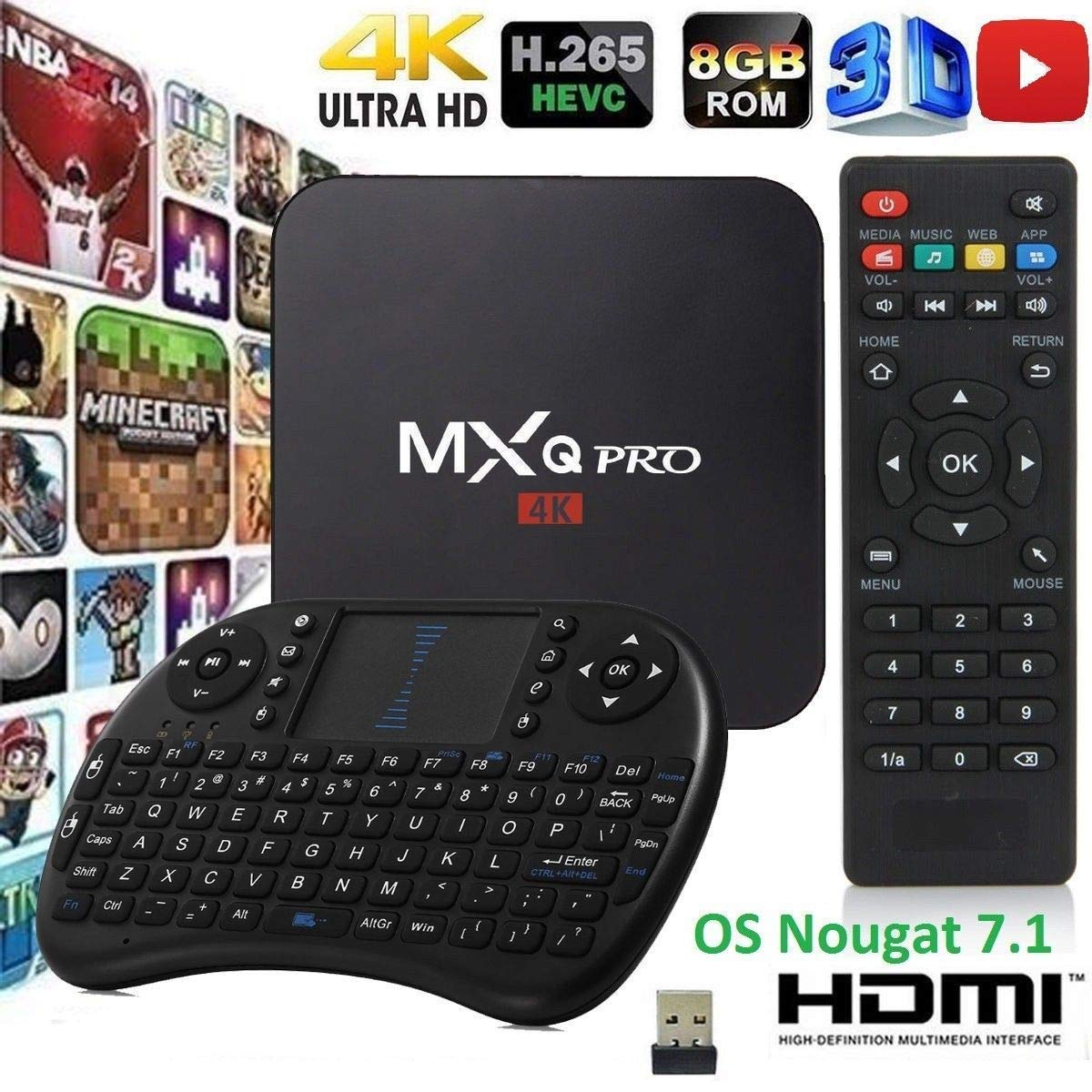 MXQ Pro HDTV Box Full HD 1080P up to 4K Android 7.1 64 Bit Amlogic S905W Quad Core 1G/8G HDMI WiFi Internet Browser/Games/Apps Google Play with Mini Wireless Keyboard