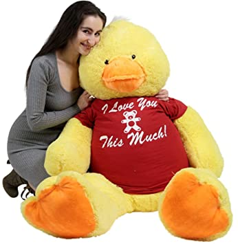 Giant Stuffed Duck 60 Inches Soft 5 Foot Big Plush I Love You This