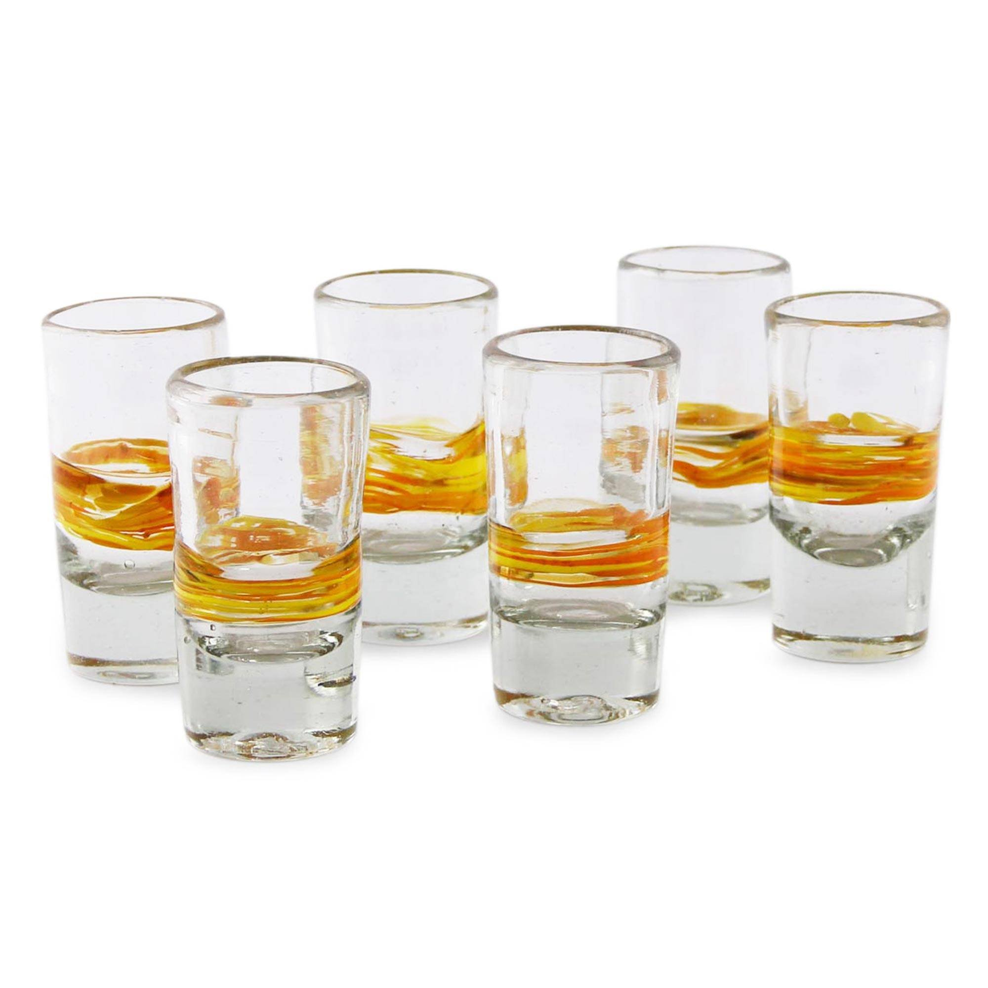 NOVICA Artisan Crafted Yellow Spiral Clear Recycled Tequila Shot Glasses, 2 oz. 'Ribbon Of Sunshine' (set of 6)