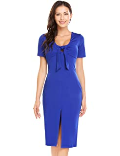 ffd6d0a4f115 CHIGANT Damen Elegante Kleider V Ausschnitt Knielang Etuikleid Bodycon  Kurzarm Sommerkleid Bleistiftkleid Abendkleid
