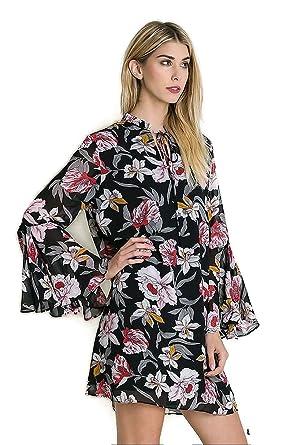 a2130ea62de Umgee Women s Bohemian Floral Trapeze Bell Sleeve Tunic Dress at Amazon Women s  Clothing store