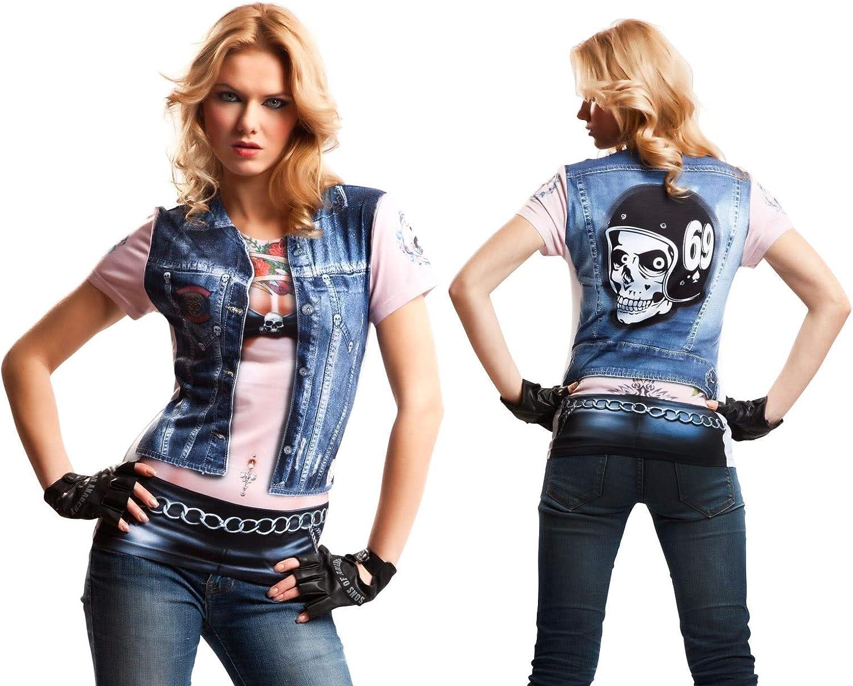 Disfraz Camiseta de Motero Original de Carnaval para Mujer M de ...