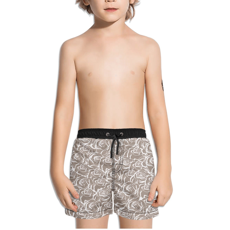 Ouxioaz Boys Swim Trunk Floral Seamless Rose Beach Board Shorts