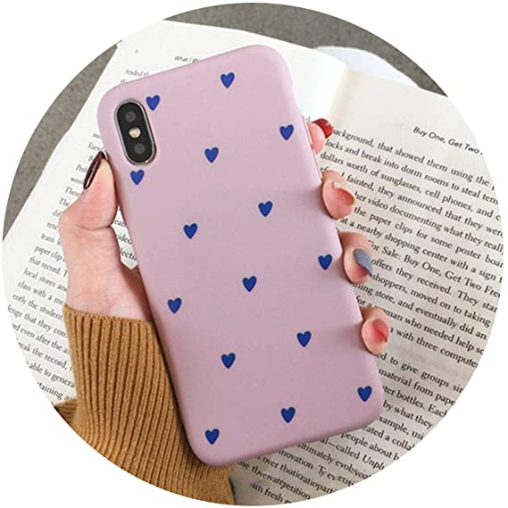 a0839c35b0cee Image Unavailable. Image not available for. Color  Cartoon Love Heart  Couples Phone Case for iPhone X XS XR XS Max 8 7 6
