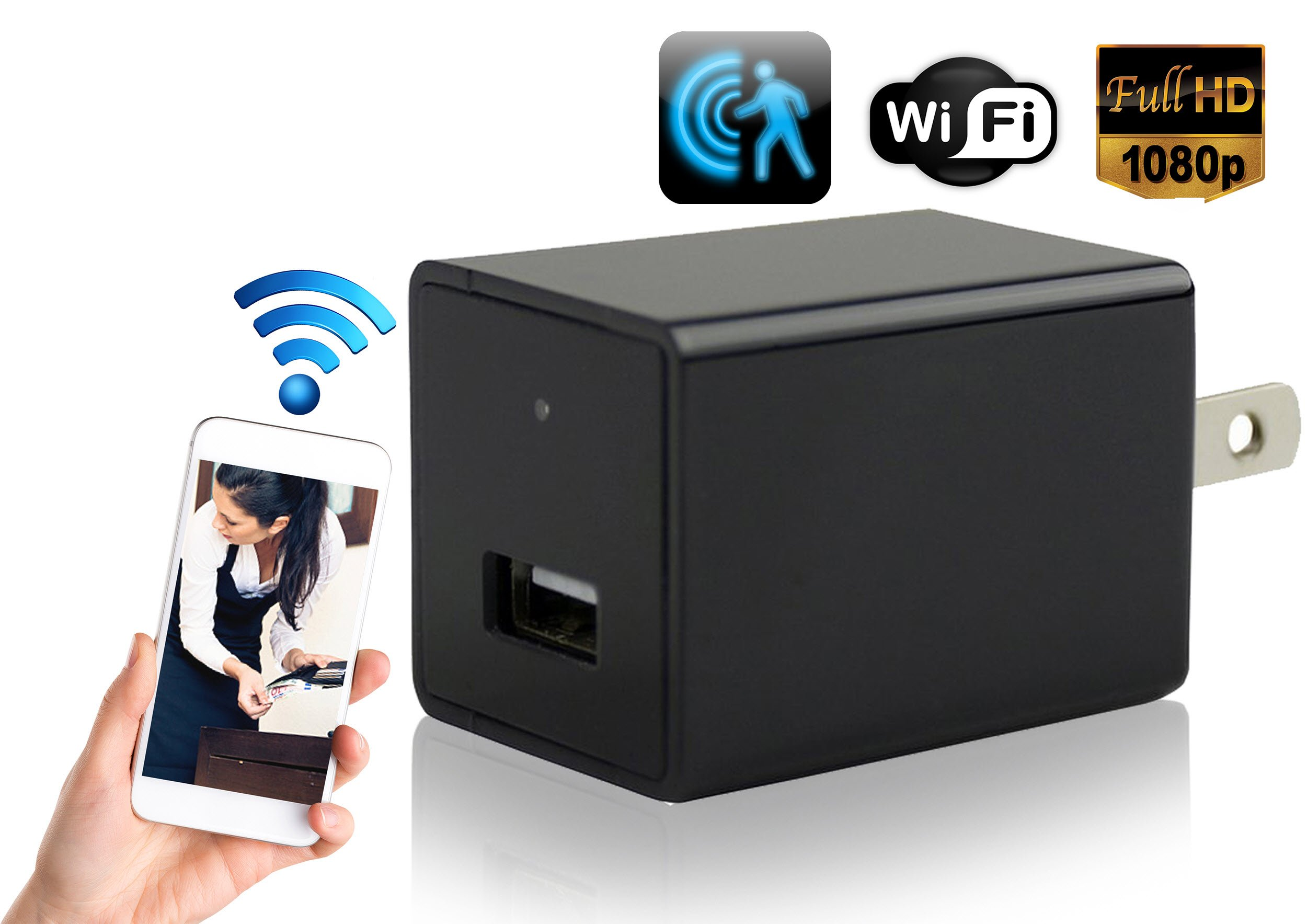 Hidden Spy Camera Wall Charger - Cutting-Edge Nanny Camera USB Security Camera Supports 128GB SD Memory Card - Superior Motion Detection, 1080P HD Resolution, 9712 Lens & Wi-Fi Remote Viewing
