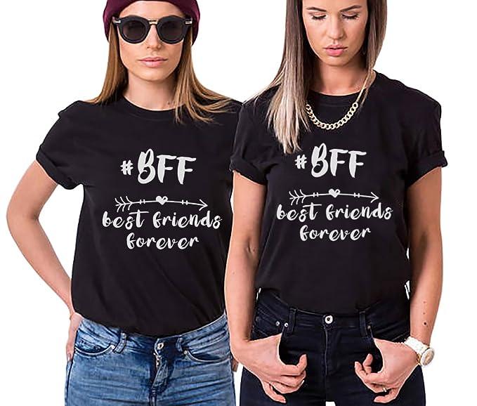 Mejores Amigas Camiseta BFF T-Shirt Best Friends Forever 100% Algodón 2 Piezas Impresión Shirt con Manga Corta para Mujer Hermana Moda Casual Tumblr: ...
