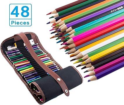 48 Lápices de colores, Bingone colores surtidos con Estuche Lápices de colores para niños y estudiantes: Amazon.es: Oficina y papelería