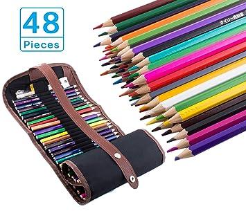 48 Lápices de colores, Bingone colores surtidos con Estuche Lápices de colores para niños y estudiantes