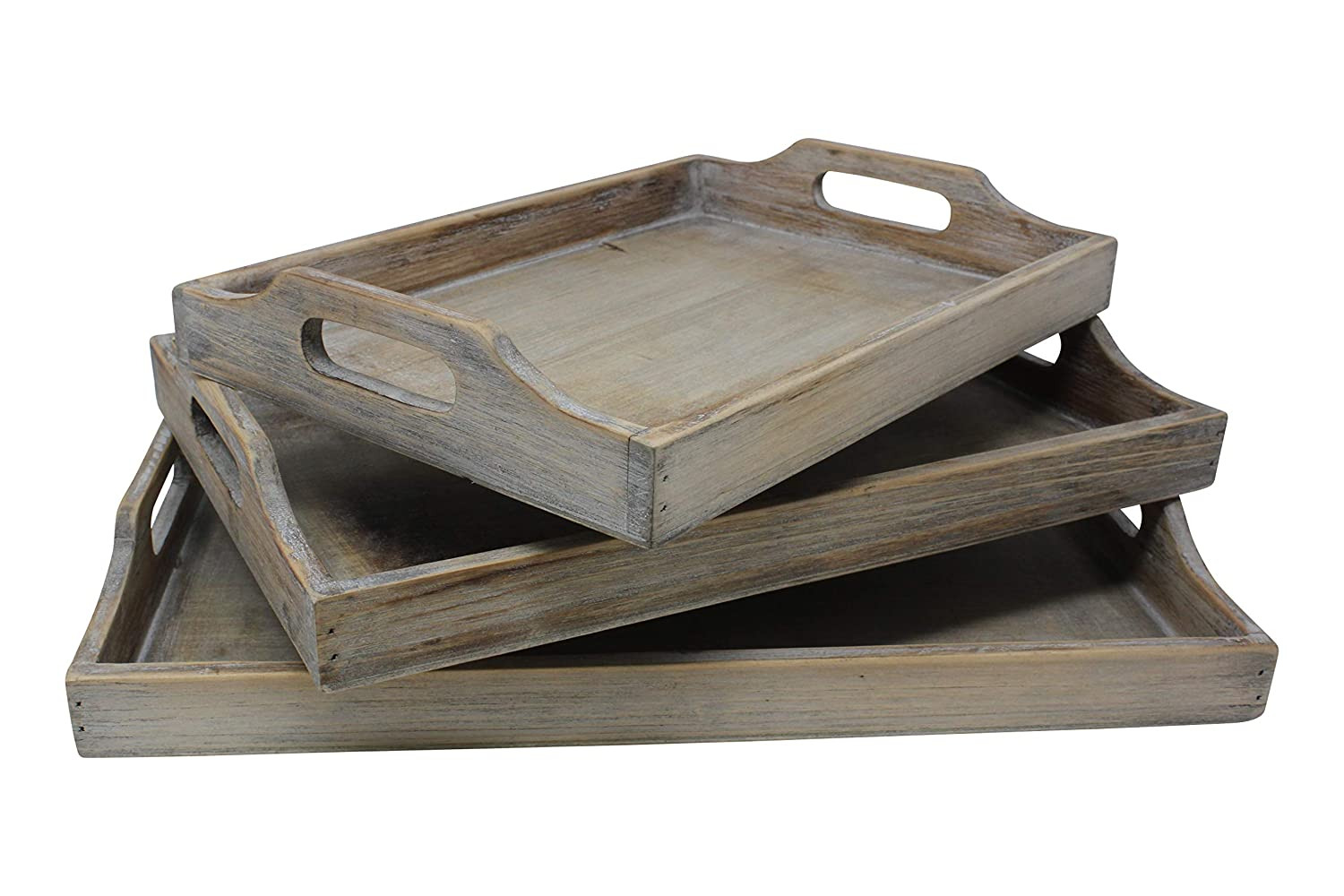 Rustic wood tray set of 3