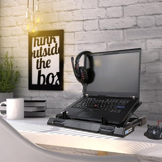 AUKEY Refroidisseur PC Portable 4 Ventilateurs, Support Ordinateur Portable 12 17 Pouces LED Bleus avec 2 Ports USB, Hauteur Réglable, Alimenté via