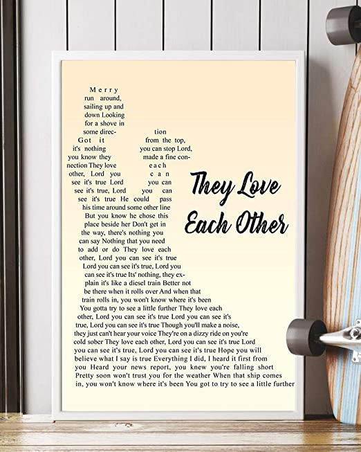 Amazon Com They Love Each Other Song Lyrics Decor Portrait Poster