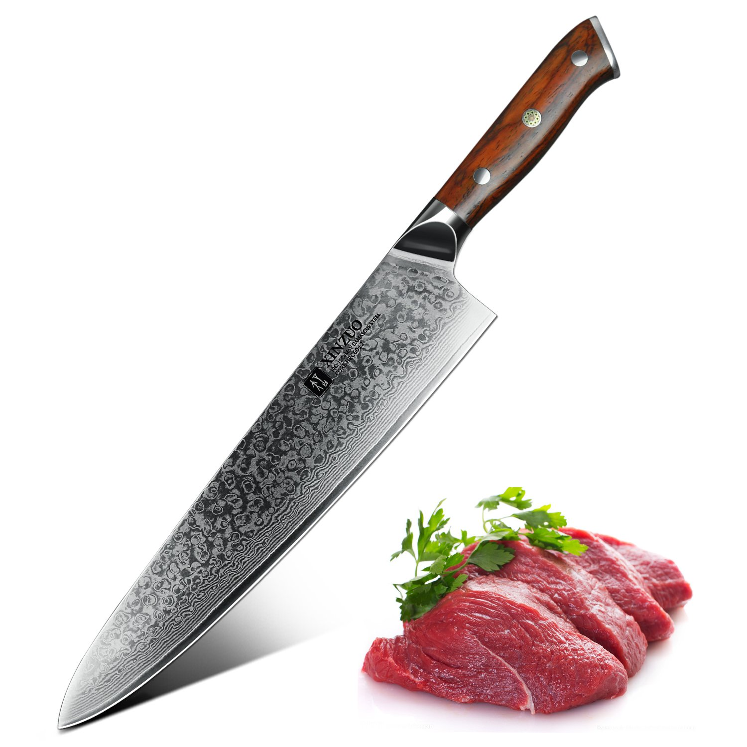 XINZUO 10 inches Damascus Chef Knife Kitchen Knife Very Sharp Gyutou Knife Stainless Steel Fashion Professional Chef's Knife with Rosewood Handle (10 inches)