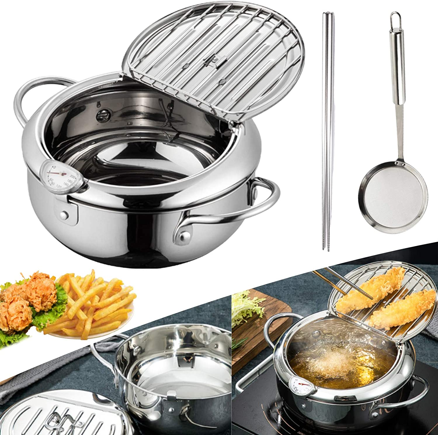 Japanese Style Tempura Fryer Pot With Thermometer And Oil Drip Rack Lid Fried Chicken Non-Stick Cooking Tools Stainless Steel Tempura Temperature Control Fried Chicken Pot Cooking Tools 24cm/304