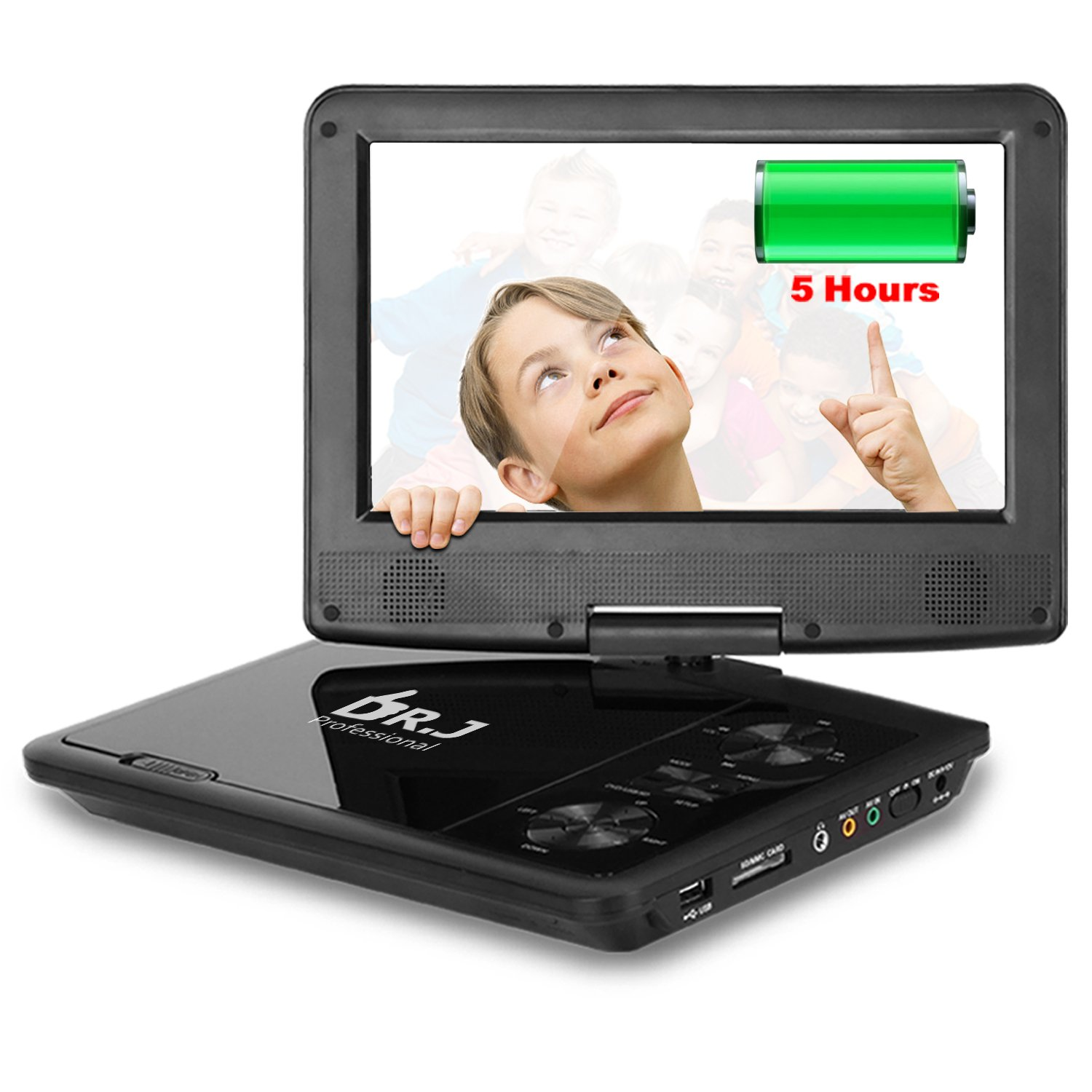 THZY 5 Hours 9.5 inch Swivel Screen Portable DVD Player With Built-In Rechargeable Battery And USB/SD Card Reader, 5.9'/1.8 m Car Charger And Battery Adapter