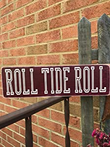 EricauBird Wood Sign-Roll Tide Roll Wood Sign, Message Block, Alabama Football, Crimson Tide, Bryant Denny Stadium, Tailgating Sign, Man cave Sign, Al University, Home Wall Art, 6x16