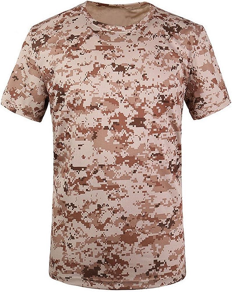 Cikuso Nuevo Camiseta camuflaje de caza al aire libre Camiseta del combate tactico del ejercito transpirable de hombre Camiseta de campamento camo de deporte seco militar Amarillo ACU L: Amazon.es: Ropa y