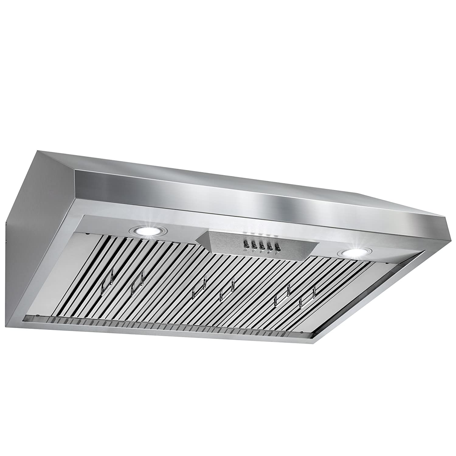 "Perfetto Kitchen and Bath 36"" Under Cabinet Stainless Steel Push Button Control Kitchen Cooking Fan Range Hood"