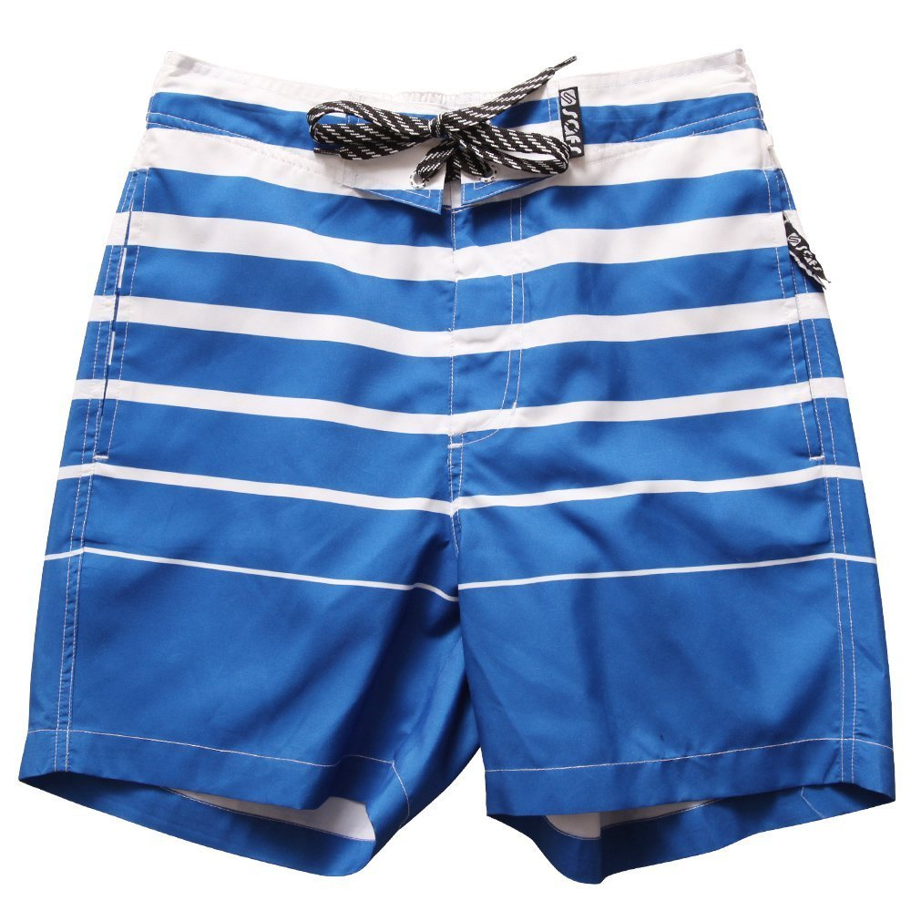 SAFS Women's Swim Trunks Board Shorts Surf Pants Style Striped Blue 6