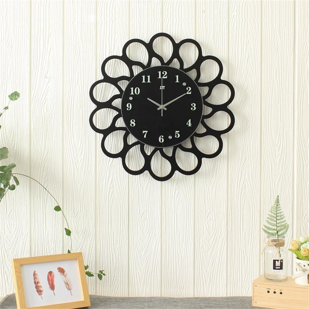 45 * 45センチメートル黒い木製の壁時計リビングルームホームベッドルームミュートクロック B07D1PGDX9
