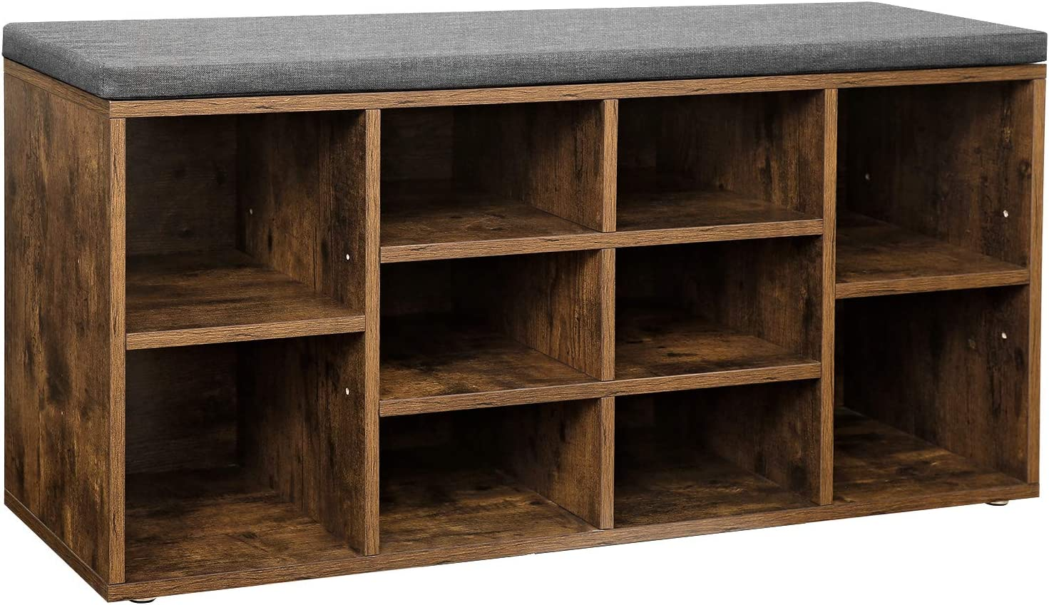 VASAGLE Shoe Bench, Shoe Shelf, Shoe Rack, Storage Cabinet, 10 Compartments, with Cushion, for Entryway, 104 x 30 x 48 cm, Rustic Brown LHS10XB