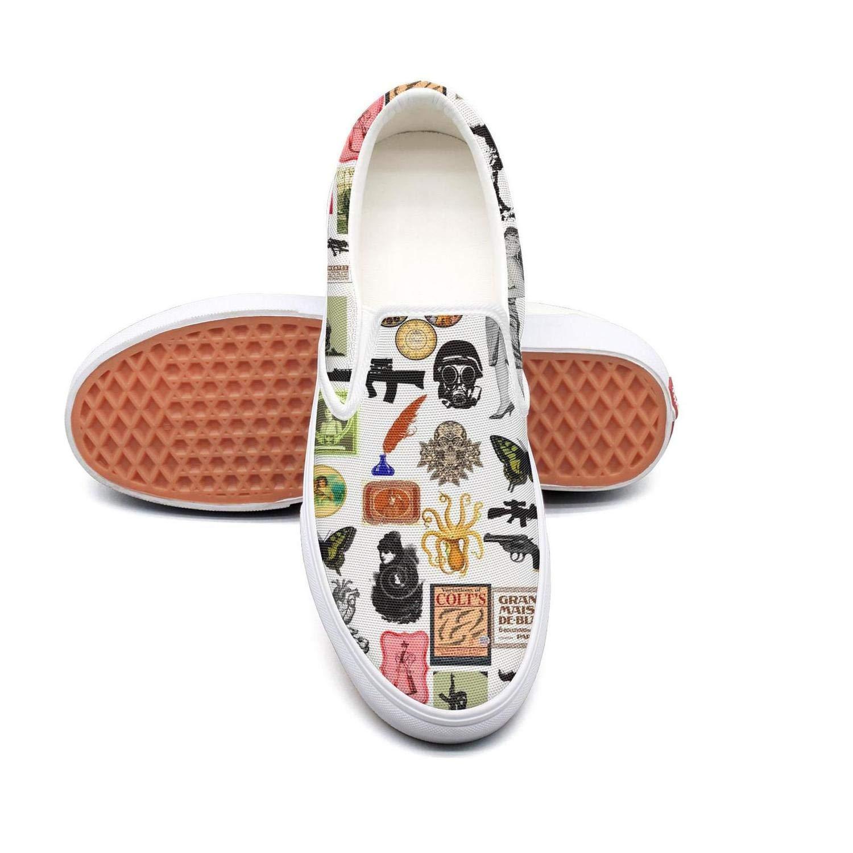 Human Skull Gun Men Slip On Superior Comfort Loafers Canvas Shoes for Women Lightweight