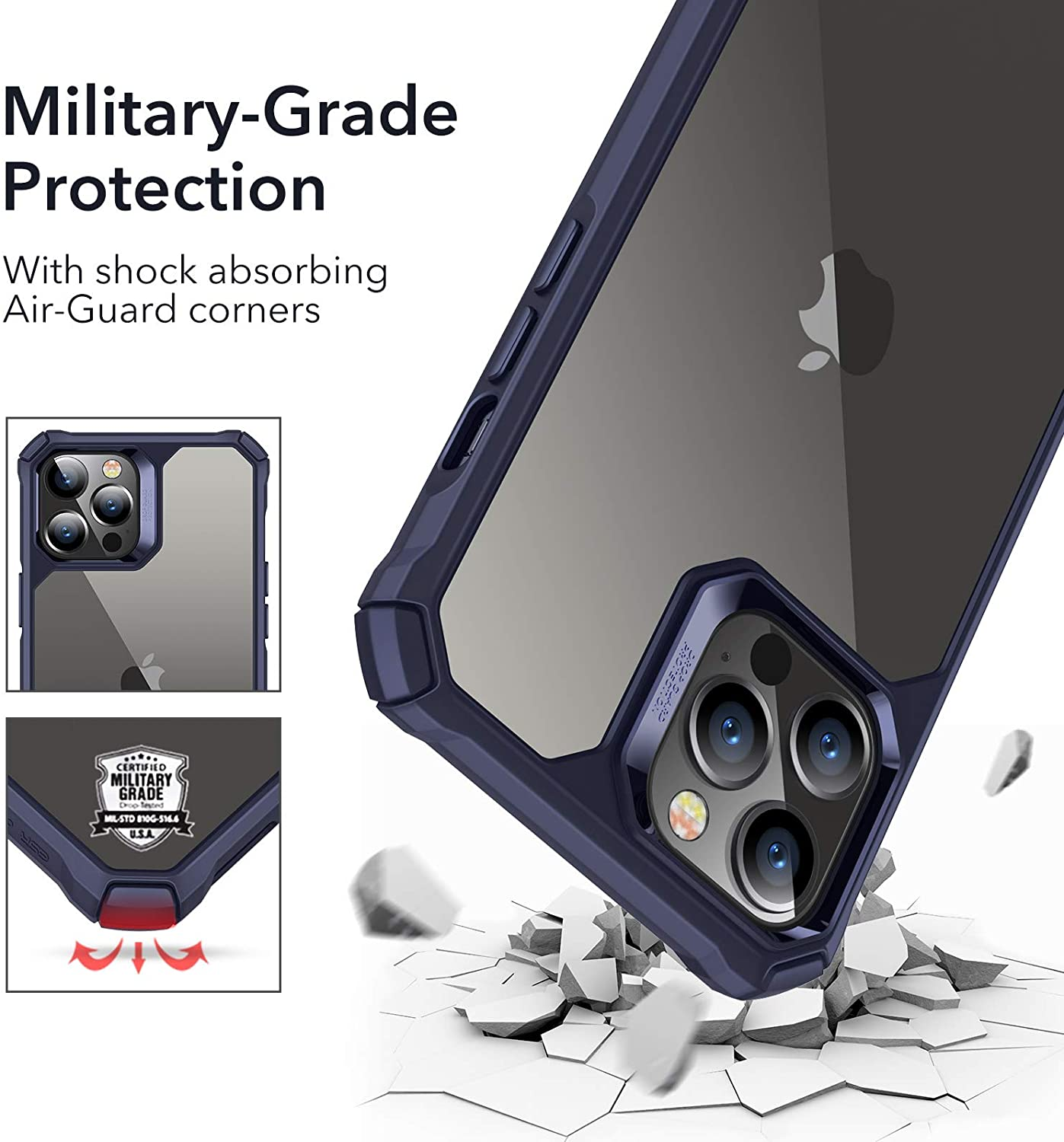 Hard Polycarbonate Shock-Absorbing Scratch-Resistant Military Grade Protection Flexible Polymer Frame for iPhone 6.1 Translucent Black ESR Air Armor Designed for iPhone 12 Case//12 Pro Case