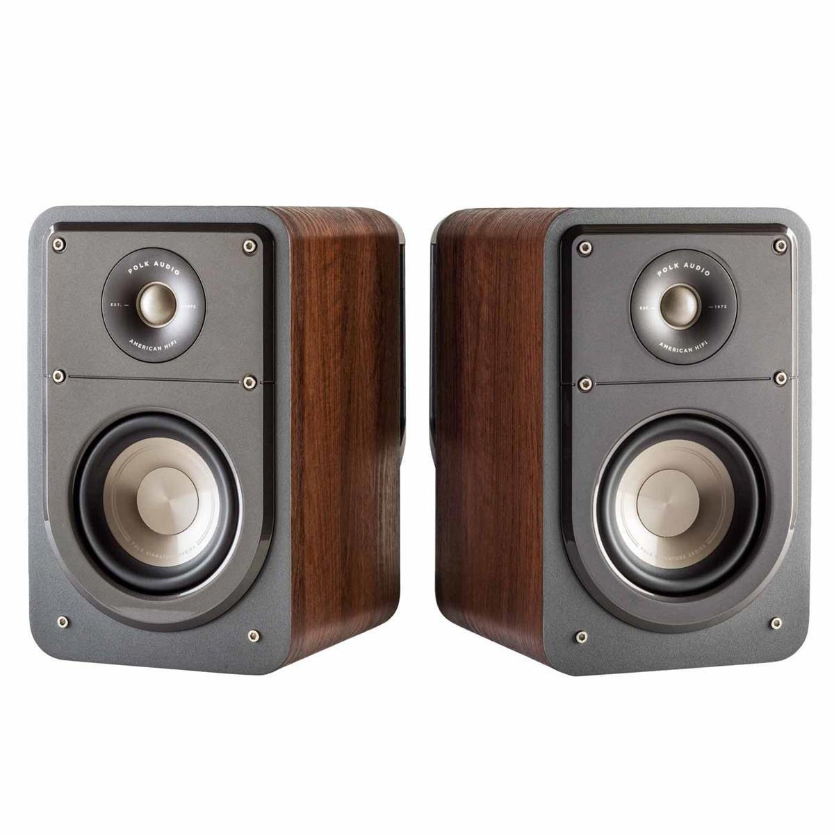 Polk Audio Signature Series S15 American Hi-Fi Home Theater Small Bookshelf Speakers - Pair (Classic Brown Walnut)