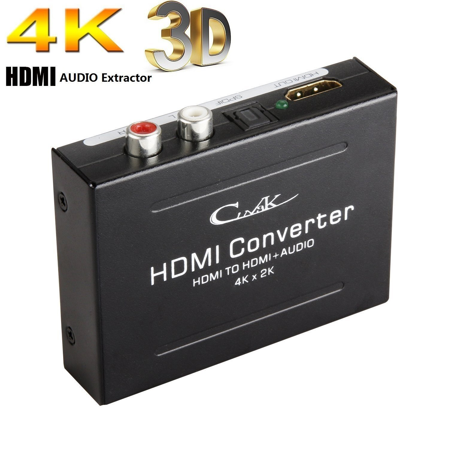 Cingk 4K HDMI Audio Extractor,HDMI To HDMI with Optical Toslink Digital Audio and L R Stereo Analog Audio Output Support HDMI V1.4 4Kx2K Ultra HD 1080P Full HD 3D