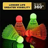 U/A LED Badminton Birdies, 2021 Unique Lighting Badminton Shuttlecocks, Tip Glow Birdies for Dark Night, Badminton for…
