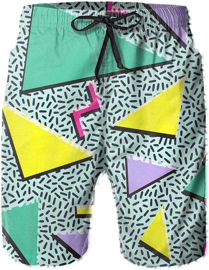 Vintage Swimming Shorts Colorful Sailor Pattern Beach Elastic Tie Waist Logo Surfer Style Swimming Boxer Beachwear Sports Shorts 90s