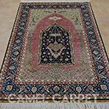 Camel Carpet Muslim Rug Handmade Oriental Silk Turkish Prayer Rug 3.3'x5'