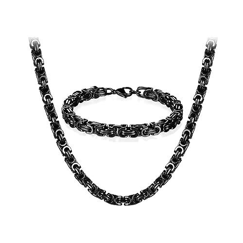 22//24//26 Zoll f/ür Halskette JewelryWe Schmuck Edelstahl Ketten Set von Halsketten und Armketten f/ür Herren schwarzen Armb/ändern 8mm breit und 21,5 cm f/ür Armband