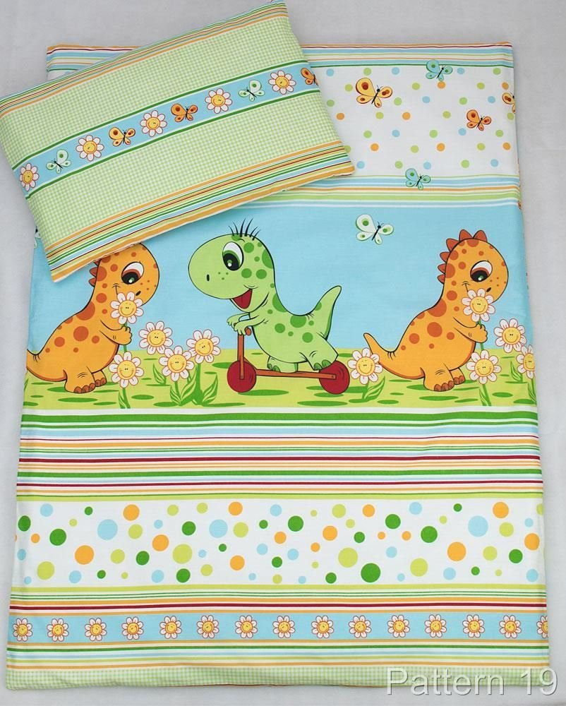 4 Piece Duvet, Pillow + Duvet Cover, Pillowcase/Baby Bedding Set for Crib, Cradle, Basket Pram - DINO GREEN Baby Comfort