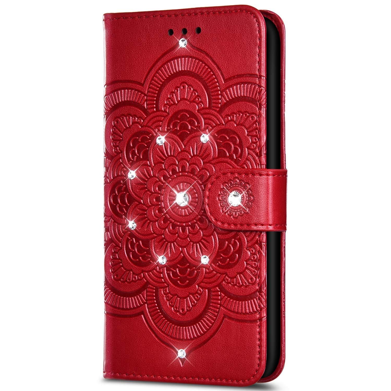 Coque Cuir Portefeuille Paillette Strass avec Fleur de Mandala Housse avec Fermoire Magn/étique Antichoc Bumper Flip Coque pour Samsung Galaxy A10-Noir SainCat Coque pour Galaxy A10