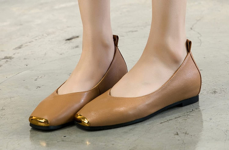 Shallow Leder Slipper Flache Schuhe Quadrat Zeh Arten Design Geeignet für Alle Arten Zeh von Passenden 392 Yellow b45db7
