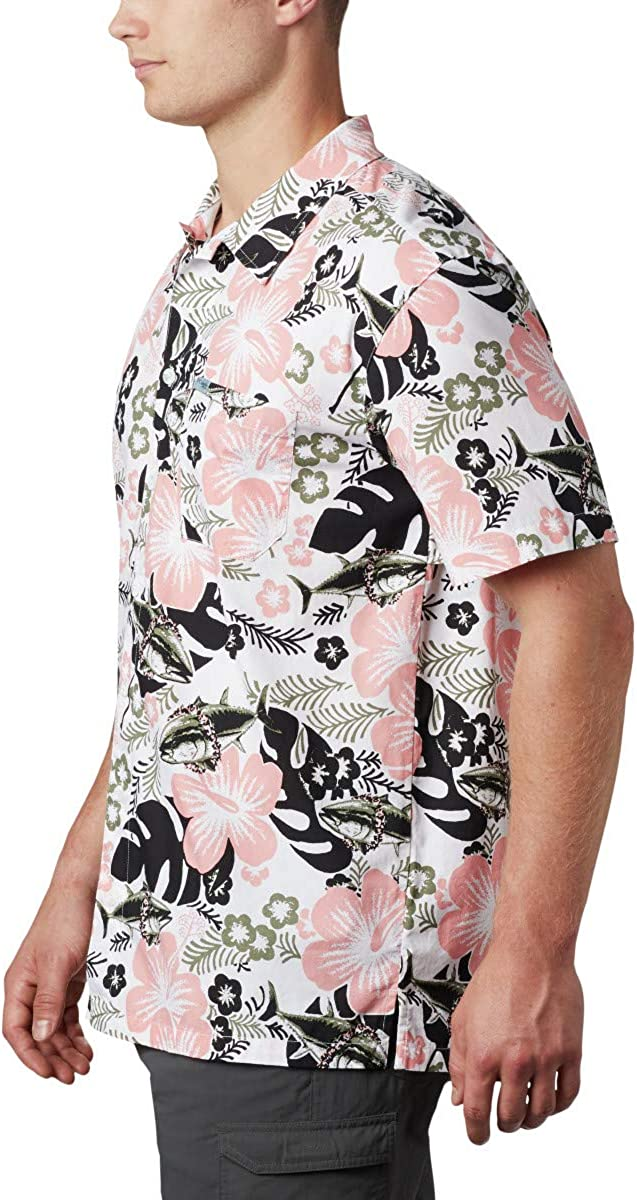 3XT Black Katuna Vibes Print Columbia Mens Trollers Best Short Sleeve Shirt