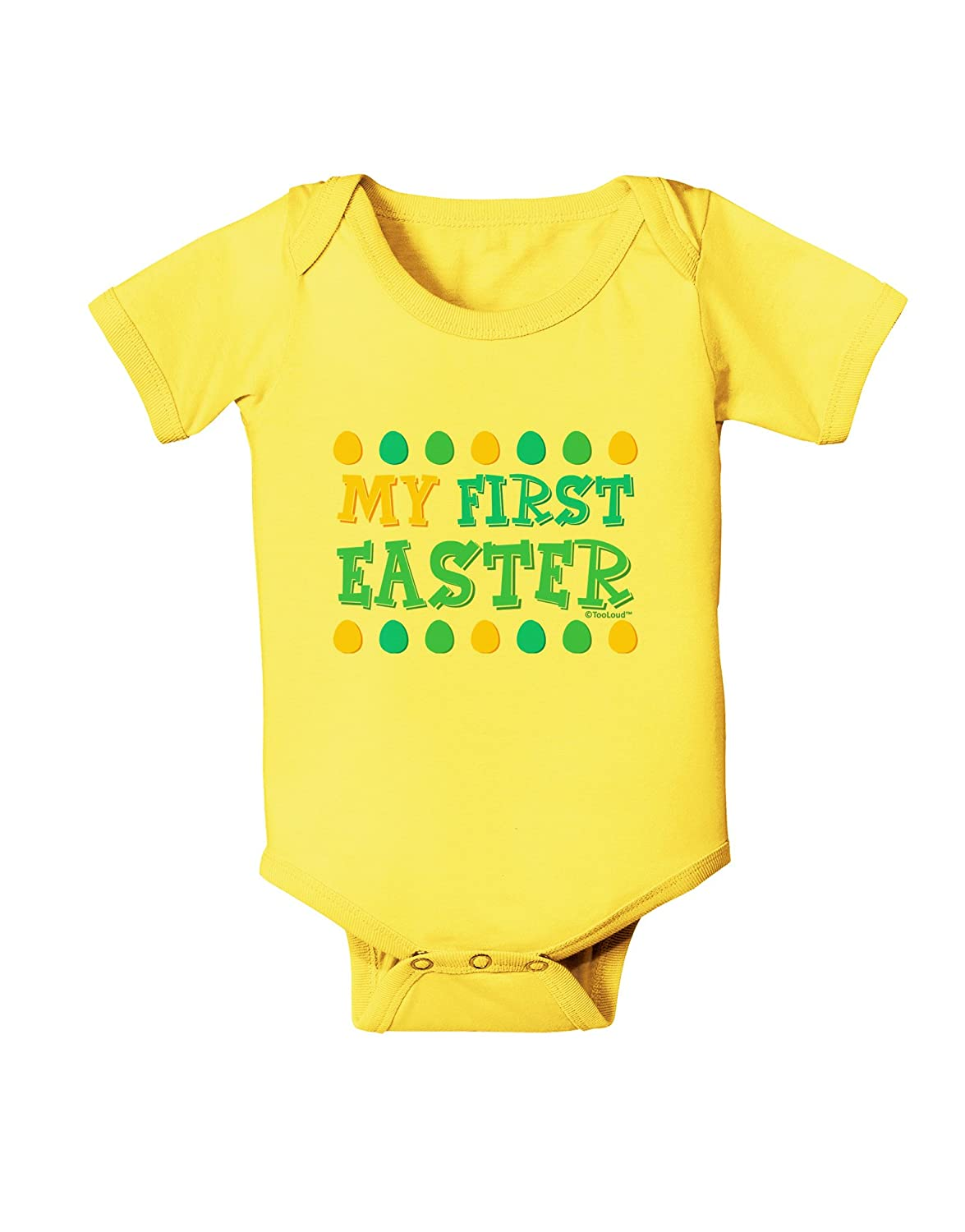 Yellow Blue Green Eggs Baby Romper Bodysuit TooLoud My First Easter