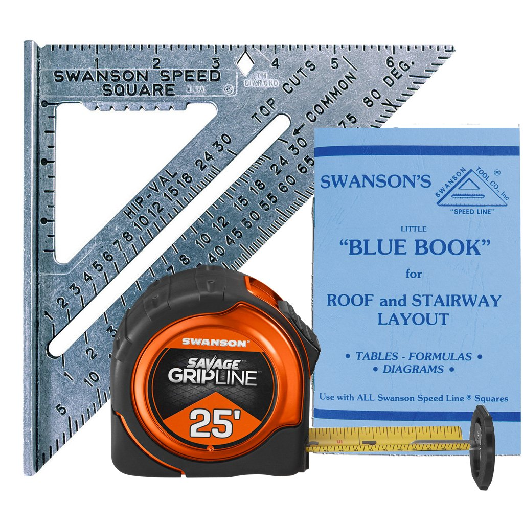 Swanson SW0125G 7'' Speed Square Layout Tool & 25' Savage Gripline Tape Measure Kit