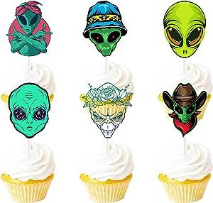 Alien Happy Birthday Dessert Cupcake Topper Green Glitter Space Alien War Theme Decorations Baby Shower Birthday Party Decor Supplies Set 18pcs