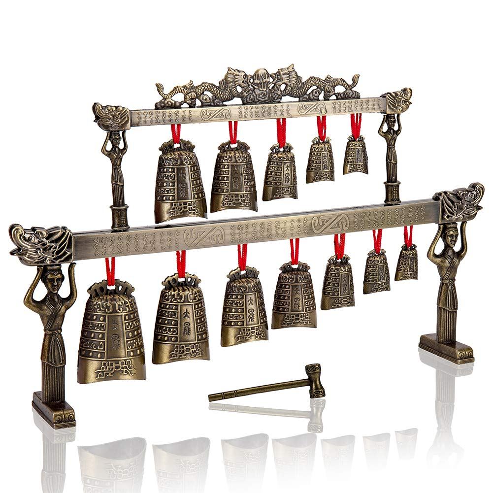 YIZIJIZI Chinese Antique Home Zinc Alloy Chimes Retro Style Bronze Bell Decoration Chinese Classical Percussion Instrument Etiquette Cultural Representation (Flat Chime)