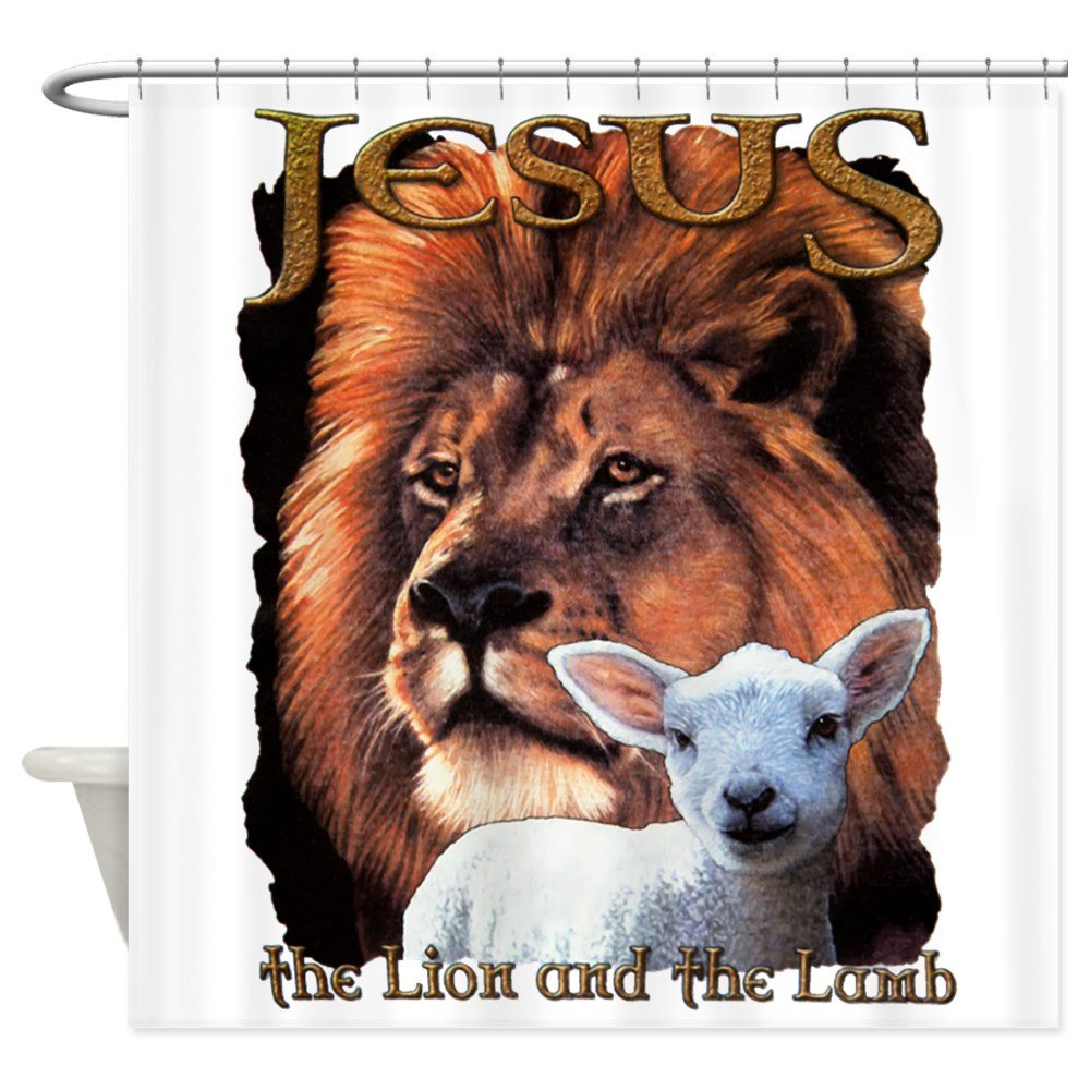 Shower Curtain Jesus The Lion And The Lamb by Royal Lion